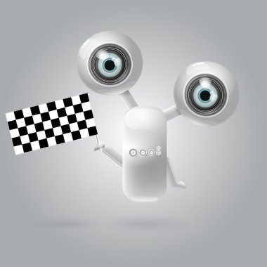 Cute robot with flag racing . EPS 10 vector illustration stock vector