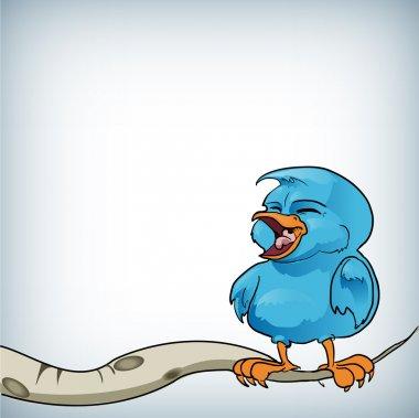 Blue bird on a branch - vector illustration. stock vector