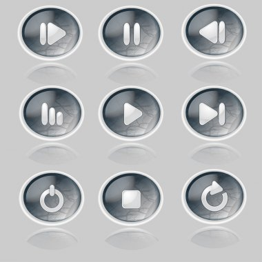 Media player buttons collection. stock vector