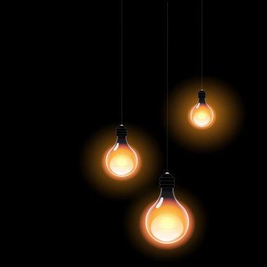 Bulbs light in the dark. Realistic vector design. stock vector