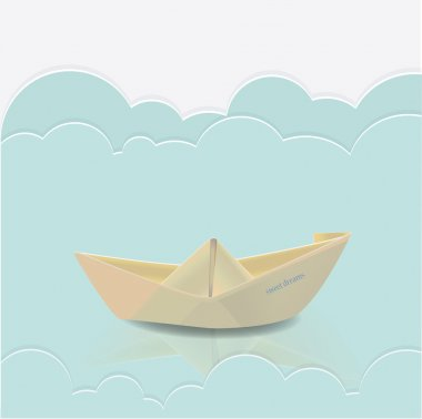 Vector paper boat in blue waves of paper sea stock vector