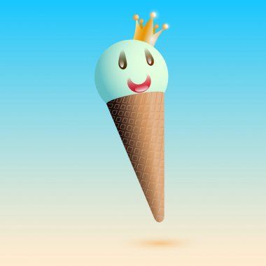 Vector illustration of smiling ice creame with crown stock vector