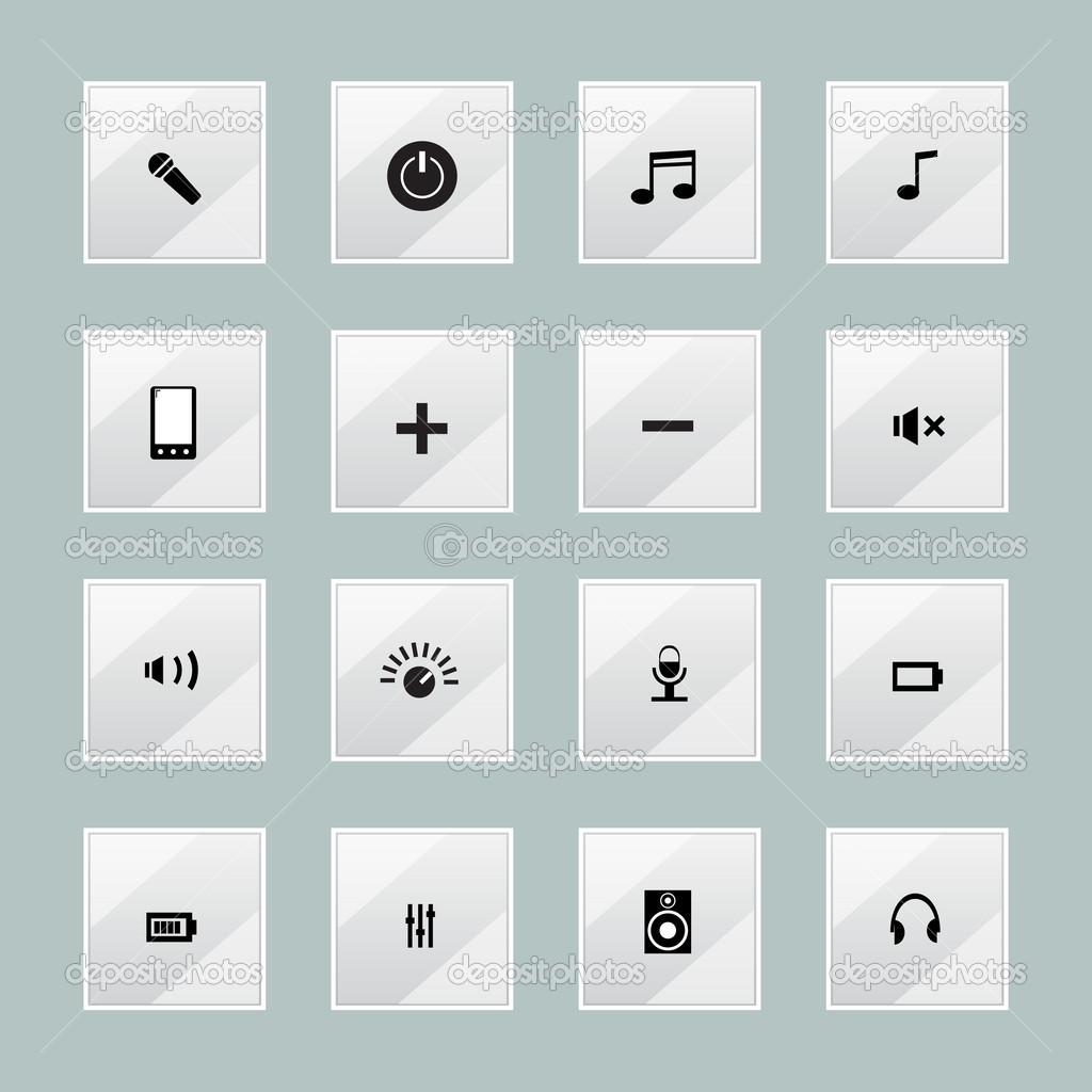 Multimedia media centre icons stock vector