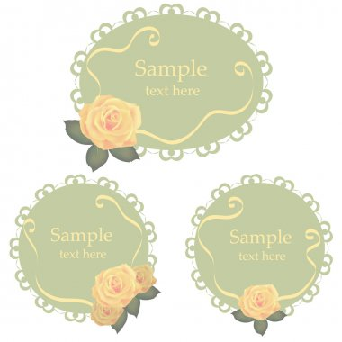 Vector floral lace frames with roses stock vector