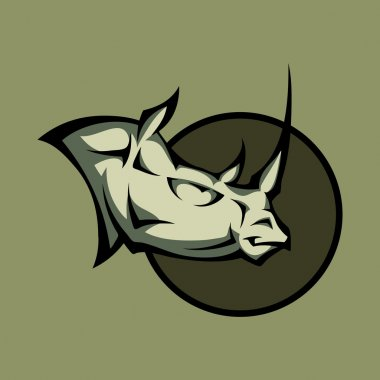 Vector illustration of a angry rhino head stock vector