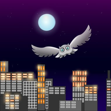Vector illustration of flying owl in the night sky with moon stock vector