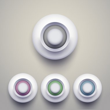 Set of colorful 3d buttons. Vector illustration. stock vector