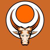 Bull grafické maskot hlavu s rohy. vektorové ilustrace