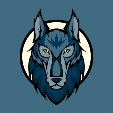 Vector illustration of wolf head in front stock vector