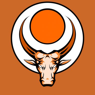 Bull Graphic Mascot Head with Horns. Vector Illustration