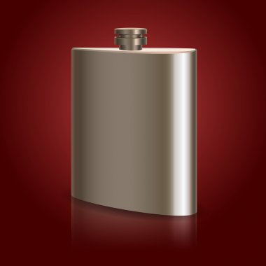 Stainless hip flask. Vector stock vector