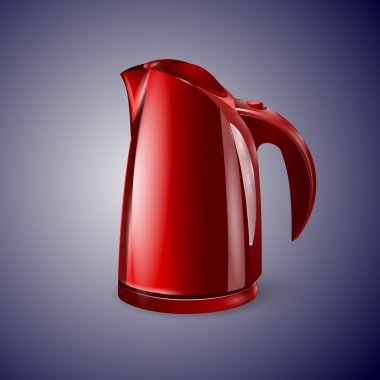 Red electric kettle vector illustration. stock vector