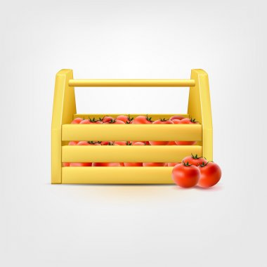 Tomatoes in wooden horizontal box