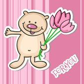 roztomilý malý medvídek s kyticí, vektorové ilustrace