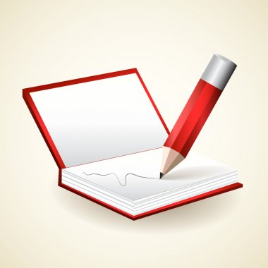 Notepad with pencil - vector illustration stock vector