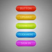 Farbige Buttons - anmelden, hochladen, herunterladen, hier klicken