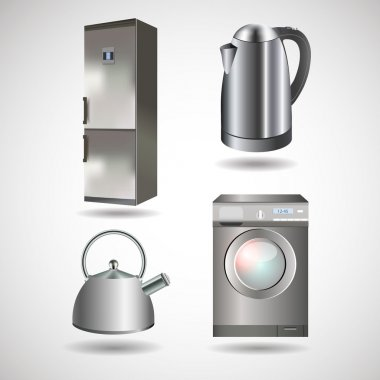 Vector household appliances - kettle, washing machine, refrigerator stock vector