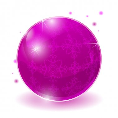 Pink glossy sphere isolated on white. stock vector