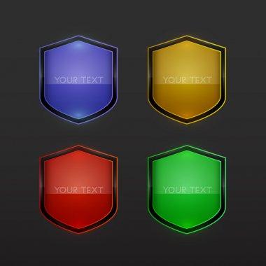 Set of vector shields stock vector