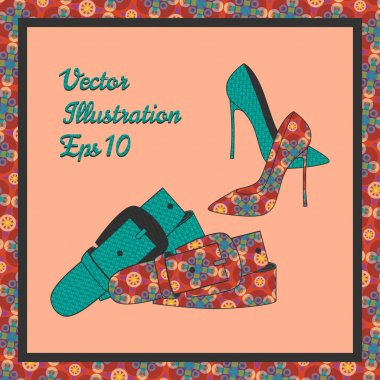 Fashion women's shoes and belt, vector stock vector