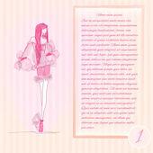 modelka. skica. módní pozadí obrázku. vektor