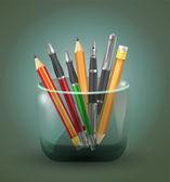 Set Icons Stift und Bleistift Vektor Illustration