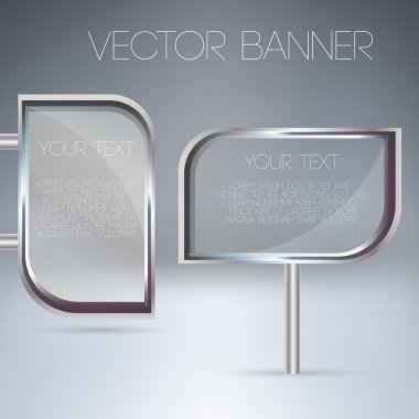 Vector transparent glass banners. stock vector
