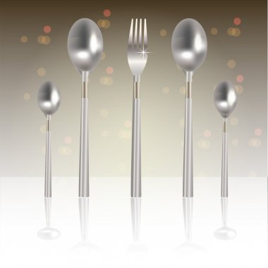 Vector illustration of silver fork and spoons stock vector