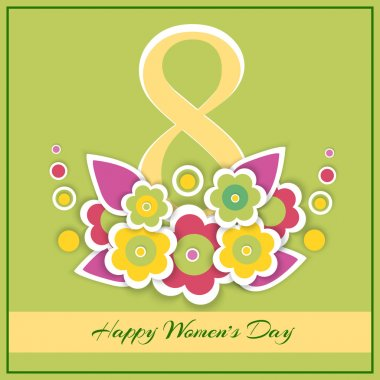 Womens day vector greeting card with flowers stock vector