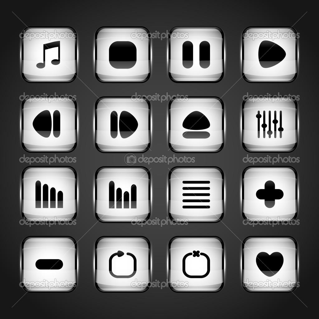 Media buttons,  vector illustration stock vector