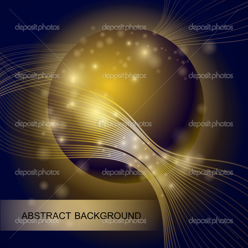 Abstract background with gold glass ball stock vector
