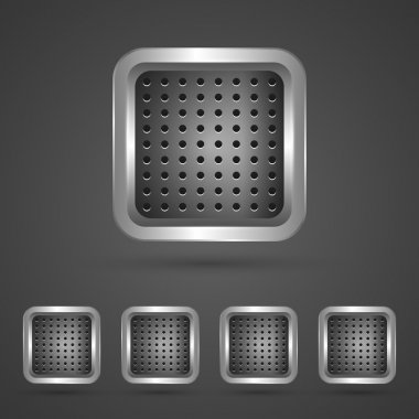 Set of silver square buttons stock vector
