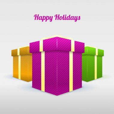 Set of gifting boxes - Happy hoidays stock vector
