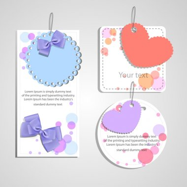 Set of beautiful gift cards with heart and bows stock vector
