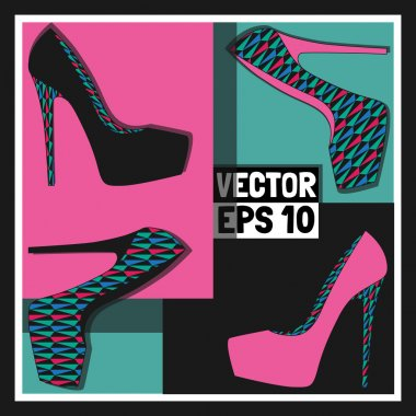 Fashion women's shoes, vector stock vector