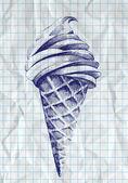ice cream cone doodle, vektor