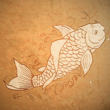 Vintage vector illustration of catfish stock vector