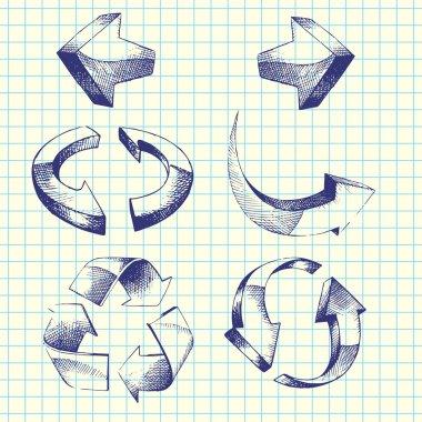 Set of vector hand-drawn arrows stock vector