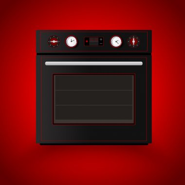 Kitchen oven on red background. Vector illustration stock vector