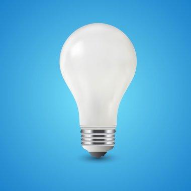 White light bulb on blue background, vector stock vector