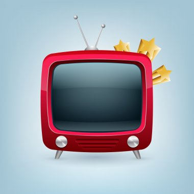 Vector red retro tv set. stock vector