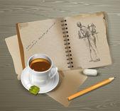 rajz, csésze teát, ceruza, Radír.