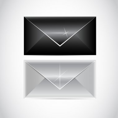 Black and white envelopes, vector stock vector