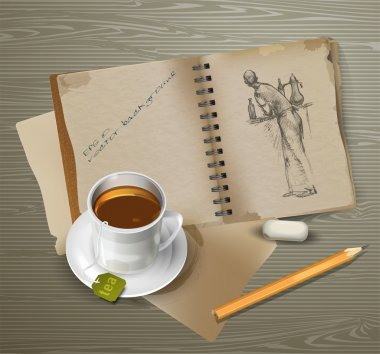 Drawing, cup of tea, pencil with eraser. stock vector