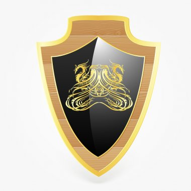Vector shield with dragon symbol stock vector