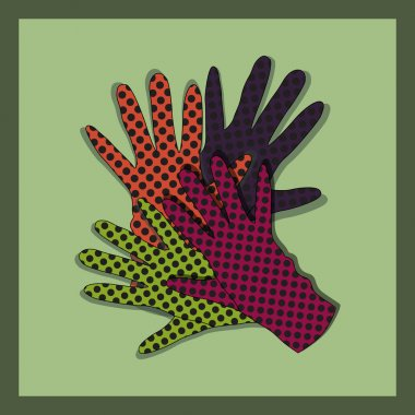 Vector background with gloves. stock vector