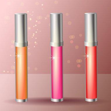 Three colored lip gloss stock vector