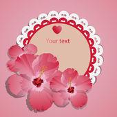 vektorové krajka rám s růžovými jarní květy
