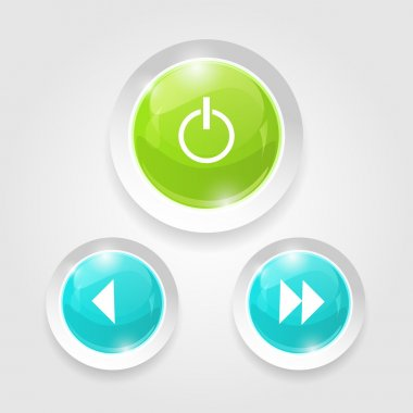 Light Web Switcher, Next, Previous Player Buttons stock vector