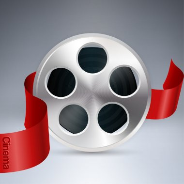 Vector cinema background with reel of film stock vector